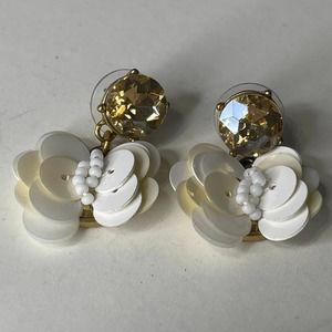 J. Crew Signed Earrings post Jewelry white flower